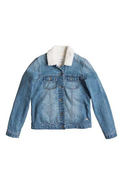 Куртка джинсовая женская Roxy Sandy J Jckt Vintage Med BlueКуртки и Парки<br>Технические характеристики: Верх из хлопка. Внутренняя утепленная подкладки из искусственного меха.  Застежка – пуговицы.  Два боковых прорезных кармана.  Два накладных кармана на груди на пуговицах. Фасон – стандартный (regular fit).<br><br>Размер EU: M<br>Цвет: синий<br>Тип: Куртка джинсовая<br>Возраст: Взрослый<br>Пол: Женский