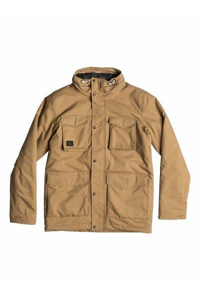 Куртка Quiksilver Elion Jacket Dull GoldКуртки и Парки<br>Технические характеристики: Влагостойкая пропитка Ashai DWR: водонепроницаемость/испарение – 10,000 мм/10,000 гр. Внутренняя ткань – тафта. Фиксированный капюшон. Двойная застежка – молния + липучки.Съемная подстежка из стеганной тафты (можно носить как отдельную куртку).Внешние карманы для рук.  Карман для медиа-плеера. Потайная регулировка подола.Регулируемые манжеты на липучках. Фасон: стандартный (regular fit).<br><br>Размер EU: L<br>Размер EU: XL<br>Размер EU: M<br>Размер EU: S<br>Цвет: бежевый<br>Тип: Куртка<br>Возраст: Взрослый<br>Пол: Мужской