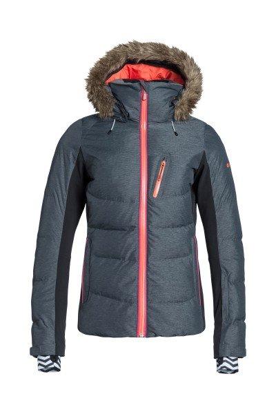 Куртка женская Roxy Snowstorm Jk J Snjt Anthracite BIOTHERMСноубординг<br>Очень тёплая куртка с наполнением из пуха и перьев и водостойкой мембраной DryFlight 15K. Отстёгивающаяся внутренняя подкладка из тафты и лайкры защищает от проникновения снега под куртку, водоотталкивающая пропитка молний и внутренние манжеты на рукавах придают дополнительный комфорт при катании.Характеристики:Водостойкая дышащая мембрана DryFlight 15K (15 000 мм, 10 000 г). Утеплитель 600 Fill Power.Боковые вставки из ультралегкой фактурной тафты и лайкры.  &amp;gt;Система креплений для брюк. Карман для телефона/плеера. Внутренний карман для очков. Дополнительные внутренние манжеты на рукавах с отверстием для большого пальца. Карман для пропуска на рукаве. Сетчатая подкладка для вентиляции. Водоотталкивающая пропитка молний YKK® Aquaguard®.Манжеты на липучках. Вшитый чип поисковой технологии пропавших RECCO®.Приталенный крой.<br><br>Размер EU: S<br>Размер EU: M<br>Размер EU: L<br>Цвет: серый,черный<br>Тип: Куртка утепленная<br>Возраст: Взрослый<br>Пол: Женский