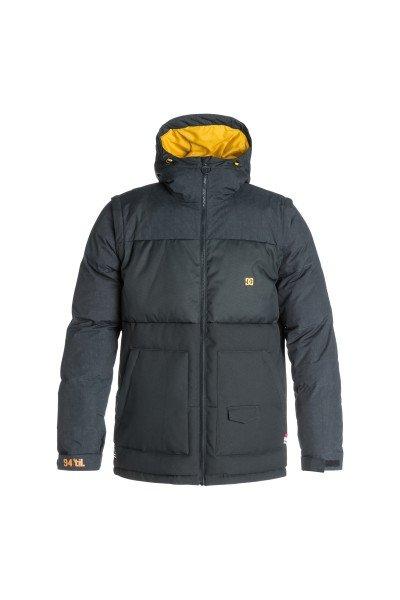 Куртка DC Downhill Jkt AnthraciteСноубординг<br>DC Downhill создана для морозных деньков и хорошего настроения, потому что надев ее даже при самых низких температурах Вы будете чувствовать комфорт и уют благодаря пуховому утеплителю в сочетании с влагостойкой тканью Exotex 10K. Вместительные карманы для рук и удобные внутренние карманы позволят захватить с собой на склон все необходимые мелочи, а снегозащитная юбка в сочетании с лайкровыми манжетами не позволит снегу проникнуть под крутку.  Технические характеристики: Утеплитель - пух Hybrid Down.Подкладка - тафта.Водонепроницаемая мембрана Exotex 10K(10 000 мм/10 000 г).Фиксированный капюшон с регулировкой.Высокий воротник - стойка.Два боковых кармана.Фиксированная снежная юбка.Внутренний сетчатый карман.Карман для медиа.Карман для ски-пасса.Регулируемые манжеты на липучках.Лайкровые манжеты с отверстием для большого пальца.Регулируемый подол на резинке.Застежка - молния.Фасон: стандартный (regular fit).<br><br>Размер EU: L<br>Размер EU: S<br>Размер EU: M<br>Размер EU: XL<br>Размер EU: XXL<br>Цвет: черный<br>Тип: Куртка утепленная<br>Возраст: Взрослый<br>Пол: Мужской