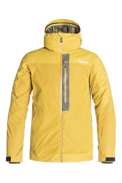 Куртка Quiksilver Tension Jkt Olive OilСноубординг<br>В этой куртке Вам не придется переживать о плохой погоде или возможном ее ухудшении в течение дня, ведь Quiksilver Tension готова обеспечить максимальный комфорт, независимо от изменчивых погодных условий. С ней вы гарантированно останетесь в тепле и сухости, а отличный дизайн куртки добавит стиля Вашему образу. Коллекция Snow Performance.  Технические характеристики: Утеплитель - 3M™ Thinsulate™ Type M.Подкладка - тафта.Водонепроницаемая мембрана Dry Flight 15K(15 000 мм/15 000г).Проклеенные швы.Высокий воротник-стойка.Фиксированный капюшон с регулировкой.Сеточная вентиляция.Система крепления штанов к курткеЗащита подбородка от натирания молнией из микрофибры.Врезной нагрудный карман на молнии.Два боковых кармана на молнии.Медиакарман.Карман для скипасса.Карман для маски.Фиксированная противоснежная юбка из синтетической тафты с эластичной вставкой из лайкры.Регулируемые манжеты на липучках.Лайкровые манжеты с отверстием для большого пальца.Подол с утяжкой.Застежка - молния.Молнии YKK® Aquaguard®.Клипса для ключей.Светоотражающая отделка в районе нагрудного кармана.Фасон: стандартный (regular fit).<br><br>Размер EU: S<br>Размер EU: M<br>Цвет: желтый<br>Тип: Куртка утепленная<br>Возраст: Взрослый<br>Пол: Мужской