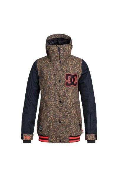 Куртка женская DC Dcla Jkt Hebon LeopardСноубординг<br>Оригинальная женская куртка в духе американских колледж-курток. У Вас есть возможность приобрести стильную куртку, которая также  отличается современным утеплителем 3M™ Thinsulate™ и влагостойкой тканью Exotex 10K. Функциональная куртка DC DCLA снабжена дополнительными манжетами из лайкры и снегозащитной юбкой, поэтому Вы наверняка сможете избежать попадания снега под одежду, а высокий ворот и регулируемый капюшон несомненно порадуют Вас в ветреную погоду и метель.  Технические характеристики: Подкладка - тафта.Водонепроницаемая мембрана Exotex 10K (10 000 мм / 10 000 г).Критические швы проклеены.Фиксированный капюшон.Капюшон с 3 вариантами регулировки.Высокий воротник стойка.Вентиляционные отверстия на молнии.Два боковых кармана на молнии.Внутренний сетчатый карман на липучке.Карман для ски-пасса.Карман для медиа.Фиксированная снежная юбка.Регулируемые манжеты на липучках.Лайкровые манжеты с отверстием для большого пальца.Застежка - молния+кнопки.Фасон - стандартный (regular fit).<br><br>Размер EU: L<br>Цвет: черный,коричневый<br>Тип: Куртка утепленная<br>Возраст: Взрослый<br>Пол: Женский