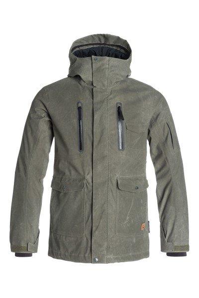 Куртка Quiksilver Dark Stormy Forest NightКуртки<br>Мужская сноубордическая куртка Dark Stormy идеально подходит как для покорения вершин, так и для повседневной жизни. Утеплитель 3M™ Thinsulate™ повышает ваши шансы отлично провести время на открытом воздухе и получить удовольствие от активного отдыха. Коллекция Snow Modern Originals.<br>Технические характеристики: Подкладка - влаговыводящая тафта и технологичный материал dobby.Водонепроницаемая мембрана Dry Flight 15K(15 000 мм/15 000г).Полностью проклеенные швы.Высокий воротник-стойка.Фиксированный капюшон.Защита подбородка от натирания молнией из микрофибры.Два нагрудных врезных кармана на молнии.Два боковых кармана на кнопках и молнии.Сеточная вентиляция.Медиакарман.Карман для скипасса.Карман для маски с тканью для протирания фильтра.Потайной карман на молнии.Система крепления штанов к куртке.Фиксированная противоснежная юбка из синтетической тафты с эластичной вставкой из лайкры.Регулируемые манжеты на липучках.Лайкровые манжеты с отверстием для большого пальца.Подол с утяжкой.Застежка - молния и кнопки.Фасон - удлиненный (tailored fit).<br><br>Размер EU: S<br>Размер EU: M<br>Цвет: зеленый<br>Тип: Куртка утепленная<br>Возраст: Взрослый<br>Пол: Мужской