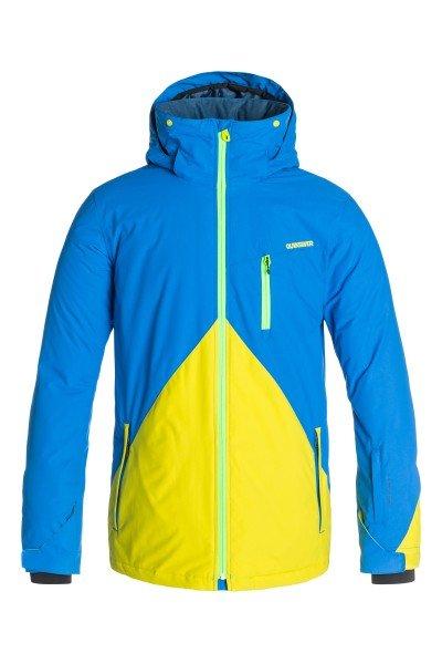 Куртка Quiksilver Mission Block Olympian BlueСноубординг<br>Мужская сноубордическая куртка Mission Block из новой сноубордической коллекции Snow Everyday. Современный утеплитель Polyfill обеспечит тепло и комфортное катание в течении всего дня.  Можете быть уверены что снег, ветер и непогода не помешают Вам получить максимум удовольствия от катания.  Технические характеристики: Подкладка -  влаговыводящая тафта.Водонепроницаемая мембрана Dry Flight 10K(10 000 мм/10 000г).Критические швы проклеены.Высокий воротник-стойка.Защита подбородка от натирания молнией из микрофибры.Нагрудный карман на молнии.Два боковых кармана на молнии.Потайной карман.Сеточная вентиляция.Карман для скипасса.Карман для маски.Система крепления штанов к куртке.Фиксированная противоснежная юбка из синтетической тафты.Регулируемые манжеты на липучках.Лайкровые манжеты.Подол с утяжкой.Застежка - молния.Фасон - удлиненный (tailored fit).<br><br>Размер EU: S<br>Размер EU: L<br>Размер EU: XXL<br>Размер EU: M<br>Цвет: синий,желтый<br>Тип: Куртка утепленная<br>Возраст: Взрослый<br>Пол: Мужской