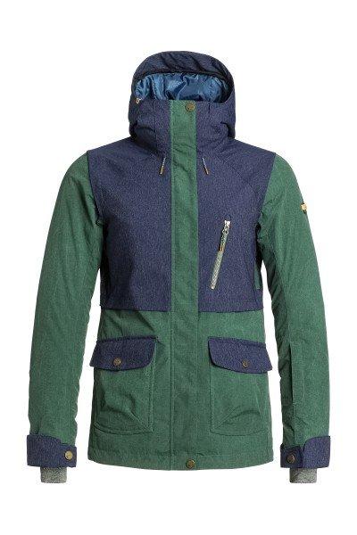 Куртка женская Roxy Tribe Jk Jungle Green BIOTHERMСноубординг<br>Сноубордическая куртка для тех, кто считает функциональность важнее броского внешнего вида. Водостойкая мембрана Dry Flight 15K, утеплитель 3M™ Thinsulate и проклеенные критические швы гарантируют сухость и тепло в удивительно тонком корпусе куртки, а свободный крой Tailored обеспечит комфорт и полную свободу движений.Характеристики:Водостойкая и дышащая мембрана Dry Flight 15K (15 000 мм /15 000 г). Утеплитель 3M™ Thinsulate™ Type M: 60 г тело, 40 г капюшон и рукава. Подкладка из теплой шерпы и тафты. Свободный крой Tailored. Проклеенные критические швы. Несъёмный капюшон регулируется 3 способами. Снегозащитная юбка. Система крепления куртки к штанам. Воротник с микрофиброй для защиты подбородка. Регулируемые внешние манжеты на липучке. Эластичные внутренние манжеты. Медиа-карман на молнии. Внутренний карман для маски с тряпочкой для протирания линзы. Утепленные боковые карманы. Карман для ски-пасса на рукаве. Сетчатые карманы для вентиляции. Карабин для ключей. Водостойкие молнии YKK®.Гейтор от Biotherm x ROXY ENJOY &amp; CARE внутри.<br><br>Размер EU: S<br>Размер EU: M<br>Размер EU: L<br>Размер EU: XL<br>Цвет: синий,зеленый<br>Тип: Куртка утепленная<br>Возраст: Взрослый<br>Пол: Женский