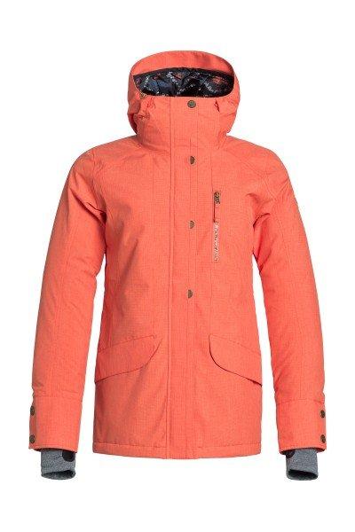 Куртка женская Roxy Andie Jk NasturtiumКуртки<br>Готовая к суровым зимним условиям, куртка Roxy Andie уверенно защитит Вас от непогоды, не жертвуя стилем. Яркие цвета и стильный принт привлекут внимание и выделят из толпы на склоне. Мембрана Dry Flight 10K, проклеенные критические швы и утеплитель 3M™ Thinsulate™ гарантированно сохранит Вас в тепле и сухости, а снегозащитная юбка и внутренние манжеты с отверстиями для больших пальцев не допустят попадания снега под одежду. Характеристики:Водостойкая и дышащая мембрана Dry Flight 10K (10 000 мм /10 000 г). Утеплитель 3M™ Thinsulate™ Type M: 80 г тело, 40 г рукава и капюшон. Подкладка из тафты и трикотажа с начесом. Свободный крой Tailored.Проклеенные критические швы. Несъёмный капюшон регулируется 3 способами. Снегозащитная юбка. Система крепления куртки к штанам. Воротник с микрофиброй для защиты подбородка. Нагрудный карман на молнии. Внутренний карман для маски. Эластичные внутренние манжеты с отверстиями для больших пальцев. Карман для ски-пасса на рукаве. Сетчатые карманы для вентиляции. Карабин для ключей.<br><br>Размер EU: L<br>Цвет: оранжевый<br>Тип: Куртка утепленная<br>Возраст: Взрослый<br>Пол: Женский