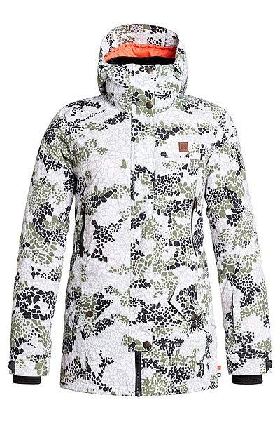 Куртка  женская DC Shoes Nature Dpm Jkt Dpm CamoСноубординг<br>Сноубордическая куртка из специализированной коллекции Research Mountain. Удлиненный крой с выраженной талией повторяет контуры фигуры, надежно защищая от холода и влаги с помощью утеплителя 3M™ Thinsulate™, водонепроницаемой мембраны Exotex и полностью проклеенных швов, но по-прежнему обеспечивая свободу движений. Дополнительный комфорт при катании обеспечат съемная снегозащитная юбка, внутренние манжеты из лайкры и множество удобных карманов. Характеристики:Удлиненный приталенный крой. Закругленный подол сзади. Водонепроницаемая мембрана Exotex 15K. Утеплитель 3M™ Thinsulate™ Type M (80г туловище/40г рукава).Подкладка из влагоотводящей тафты и искусственного меха. Капюшон с козырьком. Полностью проклеенные швы. Сетчатые карманы для вентиляции.Капюшон с 3 вариантами регулировки. Съемная снегозащитная юбка. Внутренние манжеты из лайкры. Регулируемые манжеты на липучке. Карман на молнии на рукаве для ски-пасса.Нагрудные карманы на молнии. Карманы для рук на молнии и с клапанами.Заплатки на локтях. Молния закрыта клапаном для защиты от ветра.Медиа-карман. Внутренний сетчатый карман. Внутренний карман на липучке.<br><br>Размер EU: M<br>Размер EU: XL<br>Цвет: белый,зеленый,черный<br>Тип: Куртка утепленная<br>Возраст: Взрослый<br>Пол: Женский