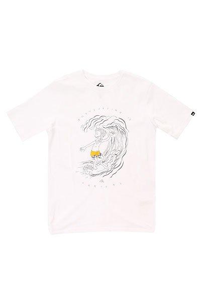 Футболка детская Quiksilver Radical Surfing Tees WhiteОдежда<br>Классическая детская футболка с забавным графическим принтом от Quiksilver.Технические характеристики: Легкая хлопковая ткань.Смягчающая обработка.Классический фасон.Короткие рукава.Графический принт от Quiksilver.Ярлычок с логотипом.Коллекция Dark Rituals.<br><br>Размер EU: 8yrs<br>Размер EU: 12yrs<br>Размер EU: 14yrs<br>Цвет: белый<br>Тип: Футболка<br>Возраст: Детский