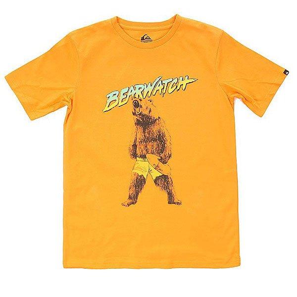 Футболка детская Quiksilver Bearwatch Tees Orange PopОдежда<br>Классическая однотонная футболка с креативным графическим принтом от Quiksilver.Технические характеристики: Хлопковый трикотаж.Классический фасон.Короткие рукава.Креативный принт от Quiksilver на груди.Ярлычок с логотипом на рукаве.<br><br>Размер EU: 14yrs<br>Размер EU: 12yrs<br>Размер EU: 16yrs<br>Цвет: оранжевый<br>Тип: Футболка<br>Возраст: Детский
