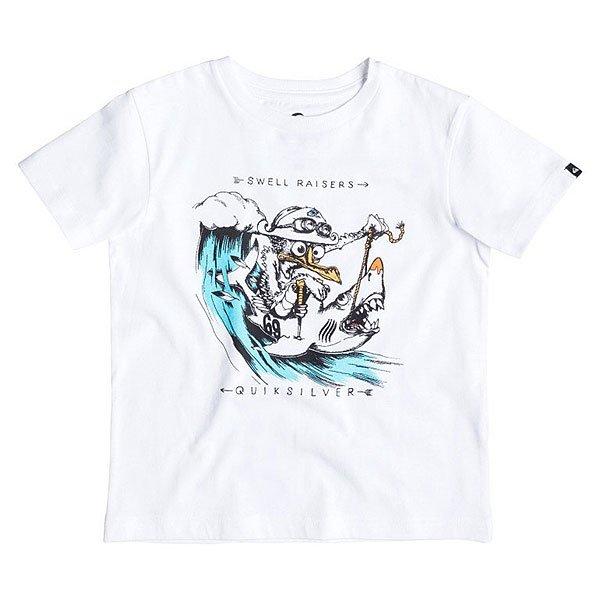Футболка детская Quiksilver Seagull Raiser Tees WhiteОдежда<br>Классическая детская футболка с веселым графическим принтом от Quiksilver.Технические характеристики: Хлопковый трикотаж.Классический фасон.Короткие рукава.Графический принт от Quiksilver.Ярлычок с логотипом.<br><br>Размер EU: 3yrs<br>Цвет: белый<br>Тип: Футболка<br>Возраст: Детский