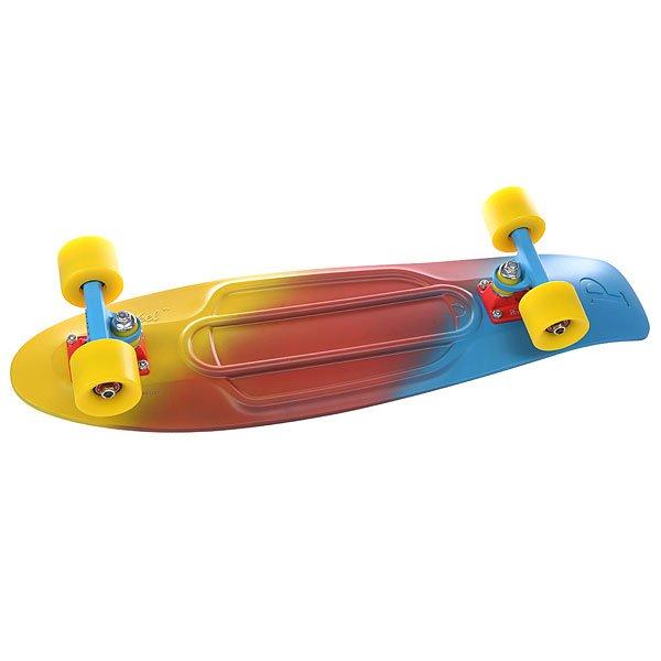 Скейт мини круизер Penny Nickel Ltd Canary Fade Yellow/Red/Blue 7.5 x 27 (68.6 см)Лонгборды<br>Nickel 27- это большой брат классического Penny Original. Более крупный и более устойчивый пластиковый круизер. Большие и мягкие колёса обеспечивают плавный ход, а быстрые подшипники гарантируют хороший накат и высокую скорость. Технические характеристики: Длина деки 27 (68.5 см). Подвески Custom 4. Диаметр колёс  59 мм.  Жёсткость колёс 78 А.  Подшипники ABEC-7.<br><br>Размер EU: 27 (68.6 см)<br>Цвет: голубой,желтый,красный<br>Тип: Скейт мини круизер