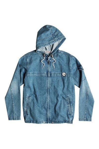 Куртка джинсовая Quiksilver Denim Capsule Blue SurfКуртки и Парки<br>Городская ветровка отлично подходит для весны и осени. Стильная куртка выполнена из тянущийся джинсы, поэтому совсем не стесняет движения, а застежка в виде молнии обеспечивает еще больший комфорт.Характеристики:Без внутренней подкладки. Застежка – молния. Стандартный крой. Два боковых кармана. Фиксированный капюшон с регулировкой. Манжеты на кнопках. Боковые резинки на подоле для регулировки ширины.<br><br>Размер EU: S<br>Размер EU: XS<br>Цвет: синий<br>Тип: Куртка джинсовая<br>Возраст: Взрослый<br>Пол: Мужской