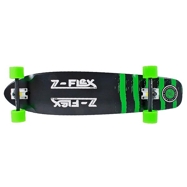 Лонгборд Z-Flex Kicktail Longboard True Black/Green 9.25 x 38 (96.5 см)Лонгборды<br>Ищете доску, которая разнообразит Ваши серые будни? Вот она! Отличный дизайн и характеристики, а наличие киктейла позволит получить ещё больше острых ощущений. Характеристики:Колёсная база: 61 см (24). Колёса: 69 мм./ 78A Z-Smooth. Подвеска: 180 мм Reverse Powder. Подшипники: Abec 7.<br><br>Размер EU: 38 (96.5 см)<br>Цвет: черный,зеленый<br>Тип: Лонгборд<br>Возраст: Взрослый<br>Пол: Мужской