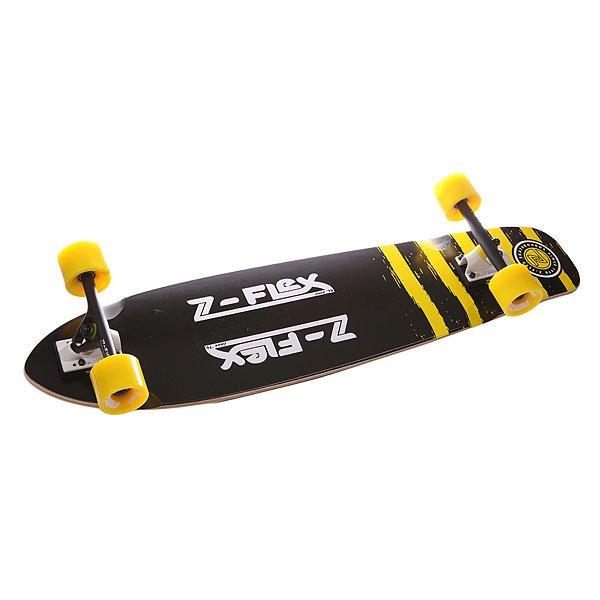 Лонгборд Z-Flex Kicktail Longboard True Black/Yellow 9.25 x 38 (96.5 см)Лонгборды<br>Ищете доску, которая разнообразит Ваши серые будни? Вот она! Отличный дизайн и характеристики, а наличие киктейла позволит получить ещё больше острых ощущений. Характеристики:Колёсная база: 61 см (24). Колёса: 69 мм./ 78A Z-Smooth. Подвеска: 180 мм Reverse Powder. Подшипники: Abec 7.<br><br>Размер EU: 38 (96.5 см)<br>Цвет: черный,желтый<br>Тип: Лонгборд<br>Возраст: Взрослый<br>Пол: Мужской