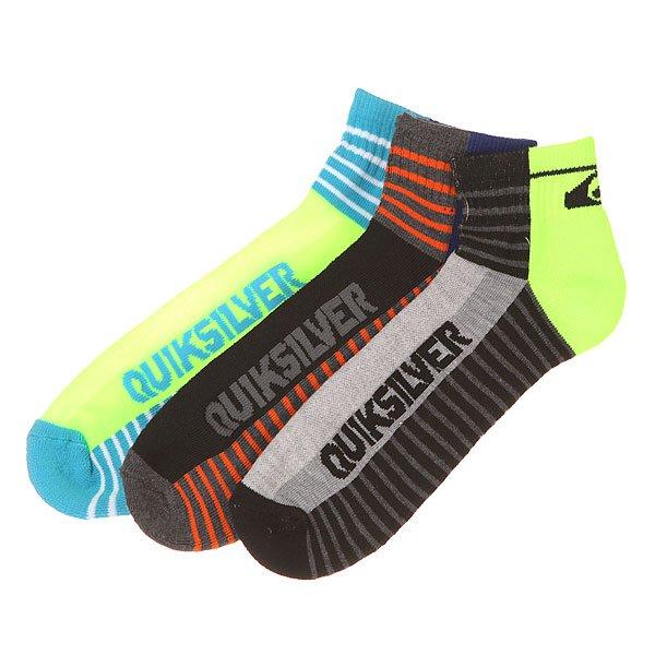 Комплект носков Quiksilver Diagnal Logo Constripe Qtr MultiНоски<br>Три пары удобных и эластичных носков от Quiksilver. Благодаря своему правильно сбалансированному составу ткани и комфортному крою они подходят для активного времяпрепровождения и занятий спортом. Широкие манжеты предупреждают сползание носков вниз по ноге, а бесшовный крой - появление неприятных ощущений и натирание стоп во время движения.Характеристики:3 пары в комплекте. Широкие манжеты. Эластичный материал. Вышитый логотип Quiksilver.<br><br>Размер EU: 10-13<br>Цвет: черный,синий,зеленый,голубой<br>Тип: Комплект носков<br>Возраст: Взрослый<br>Пол: Мужской