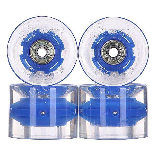 Колеса для скейтборда для лонгборда с подшипниками Sunset Cruiser Wheel With Abec9 Blue Ano 78A 59 mmЛонгборды<br>Диаметр: 59 mm    Жесткость: 78A    Цена указана за комплект из 4-х колес    В комплект входят восемь подшипников Abec-9, восемь шайбочек на оси и четыре втулки.<br><br>Размер EU: 59 mm<br>Цвет: прозрачный,синий<br>Тип: Колеса для лонгборда