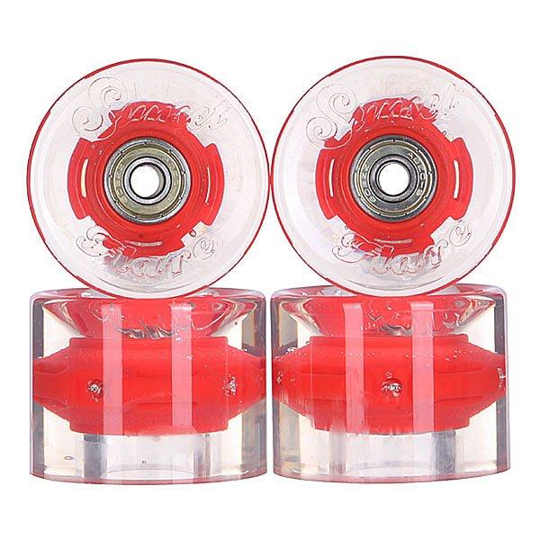 Колеса для скейтборда для лонгборда с подшипниками Sunset Cruiser Wheel With Abec9 Red Ano 78A 59 mmЛонгборды<br>Диаметр: 59 mm    Жесткость: 78A    Цена указана за комплект из 4-х колес    В комплект входят восемь подшипников Abec-9, восемь шайбочек на оси и четыре втулки.<br><br>Размер EU: 59 mm<br>Цвет: прозрачный,красный<br>Тип: Колеса для лонгборда