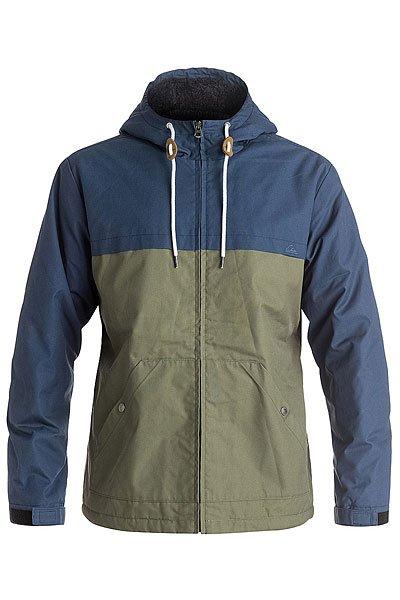 Куртка Quiksilver Wannablock Dark DenimКуртки и Парки<br>Мужская куртка  Wanna Block из прочной водоотталкивающей ткани в свободном крое, что позволит использовать дополнительный слой утепления, если конечно это потребуется. Куртка дополнена теплой подкладкой из шерпы и липучками Velcro на манжетах для плотного прилегания.Технические характеристики: Дизайн в стиле Colour Block.Теплая подкладка из шерпы.Водоотталкивающая обработка.Фиксированный капюшон на шнурках.Манжеты на липучках Velcro.Карманы для рук.Внутренний карман.Круглая кожаная нашивка на рукаве.Застежка на металлической молнии.<br><br>Размер EU: M<br>Размер EU: L<br>Размер EU: XL<br>Цвет: зеленый,синий<br>Тип: Куртка<br>Возраст: Взрослый<br>Пол: Мужской