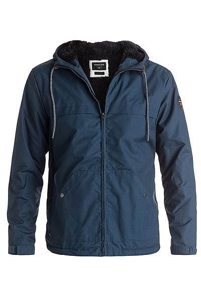 Куртка Quiksilver Wanna Dark DenimКуртки и Парки<br>Мужская куртка  Wanna Block из прочной водоотталкивающей ткани в свободном крое, что позволит использовать дополнительный слой утепления, если конечно это потребуется. Куртка дополнена теплой подкладкой из шерпы и липучками Velcro на манжетах для плотного прилегания.Технические характеристики: Дизайн в стиле Colour Block.Теплая подкладка из шерпы.Водоотталкивающая обработка.Фиксированный капюшон на шнурках.Манжеты на липучках Velcro.Карманы для рук.Внутренний карман.Круглая кожаная нашивка на рукаве.Застежка на металлической молнии.<br><br>Размер EU: L<br>Размер EU: S<br>Размер EU: M<br>Размер EU: XL<br>Цвет: синий<br>Тип: Куртка<br>Возраст: Взрослый<br>Пол: Мужской