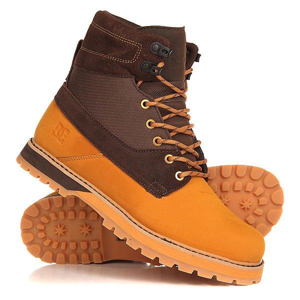 Ботинки высокие DC Uncas Wheat/Dark ChocolateБотинки<br>Ботинки на шнуровке Uncas – это оптимальное сочетание аутентичного уличного стиля DC и армейской эстетики.Технические характеристики: Верх из плотной кожи и текстиля.Классический стиль рабочих ботинок.Подкладка из дышащей сетки.Круглая шнуровка с металлическими люверсами и крючками.Пятка с петлей.Плотный язычок и воротник со стеганой отделкой.Износостойкая каучуковая подошва.Рельефный протектор для улучшенного сцепления.<br><br>Размер EU: 45<br>Размер US: 11.5<br>Размер CM: 29<br>Цвет: коричневый<br>Тип: Ботинки высокие<br>Возраст: Взрослый<br>Пол: Мужской
