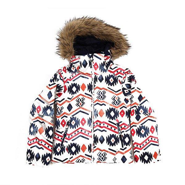 Куртка детская Roxy Jetty Ski Waterinca Bright WhiteОдежда<br>Приталенная и уютная сноубордическая куртка со съемным мехом. Смелые и модные принты, переплетенные с технологичной мембраной DryFlight® 10К и утеплителем Warmflight® будут держать Вас в тепле в холодные зимние дни.Технические характеристики: Технологичная саржа из полиэстера.Утеплитель Warmflight®.Подкладка из тафты со вставками из трикотажа с начесом.Критические швы проклеены.Съемный капюшон.Съемная отделка на капюшоне из искусственного меха.Капюшон совместим со шлемом.Фиксированная снежная юбка из тафты с удобными кнопками.Подкладка в районе подбородка.Внутренние манжеты из лайкры.Карманы для рук с теплой подкладкой.Карман для скипасса на рукаве.Манжеты с регулировкой на липучках.Сеточная вентиляция на молнии.Подол на утяжке для защиты от ветра.<br><br>Размер EU: 16yrs<br>Размер EU: 8yrs<br>Размер EU: 12yrs<br>Размер EU: 10yrs<br>Размер EU: 14yrs<br>Цвет: белый,мультиколор<br>Тип: Куртка утепленная<br>Возраст: Детский