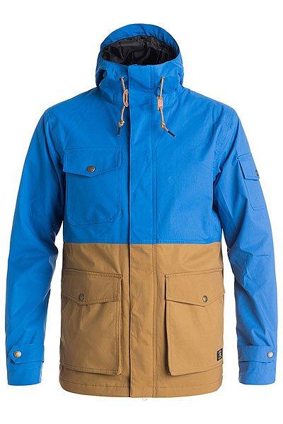 Куртка DC Tick Nautical BlueКуртки и Парки<br>Здесь предусмотрено всё для комфортного катания: высокие показатели влаго- и ветрозащиты, проклеенные швы, вентиляция. Утеплитель отлично греет и сохраняет тепло тела. Характеристики:Водостойкая и дышащая мембрана EXOTEX™(10 000 мм / 10 000 г). Эластичная полусинтетическая саржа. Утеплитель 3M™ Thinsulate™ (тело и рукава – 60 г). Подкладка из тафты с начесом и принтом.Критические швы проклеены. Капюшон убирается в воротник.Внутренний регулируемый пояс. Внутренний медиа-карман. Металлические молнии.<br><br>Размер EU: M<br>Размер EU: L<br>Размер EU: S<br>Размер EU: XL<br>Цвет: синий,коричневый<br>Тип: Куртка<br>Возраст: Взрослый<br>Пол: Мужской