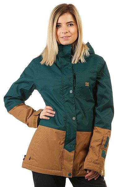 Куртка женская DC Shoes Defy Deep TealКуртки<br>Невероятно функциональная катальная куртка, выполненная в стиле колорблок и дополненная узнаваемым фирменным логотипом на груди и на рукаве. DC Defy выполнена из мембранной тканиEXOTEX™ 10K и дополнена утеплителем, а благодаря внутренним манжетам из лайкры и снегозащитной юбке всегда готова защитить от ветра и холода, не пустив внутрь снег. КурткаDC Defy обладает прямым кроем и готова помочь составить непринужденный расслабленный образ, никак не ограничивая в свободе движений.Характеристики:Дышащая влагостойкая мембранная ткань EXOTEX™ 10K (10 000 мм, 5 000г/м2). Утеплитель: 100г туловище, 60г рукава. Подкладка: тафта. Прямой крой и непринужденный стиль для свободы движений. Швы проклеены в стратегических местах. Сетчатые карманы для вентиляции подмышками.Регулируемый в двух направлениях капюшон. Капюшон с козырьком.Фиксированная снегозащитная юбка. Система крепления куртки к штанам.Внутренние манжеты из лайкры. Регулируемые на липучке манжеты.Нагрудный карман на вертикальной молнии с внутренним аудио-выводом.Внутренний сетчатый карман. Два кармана для рук с теплой подкладкой на молнии. Карман на молнии на рукаве для ски-пасса. Фирменный логотип на нагрудном кармане и рукаве. Состав: 100% полиэстер.<br><br>Размер EU: XS<br>Размер EU: M<br>Размер EU: S<br>Размер EU: L<br>Цвет: зеленый,коричневый<br>Тип: Куртка утепленная<br>Возраст: Взрослый<br>Пол: Женский