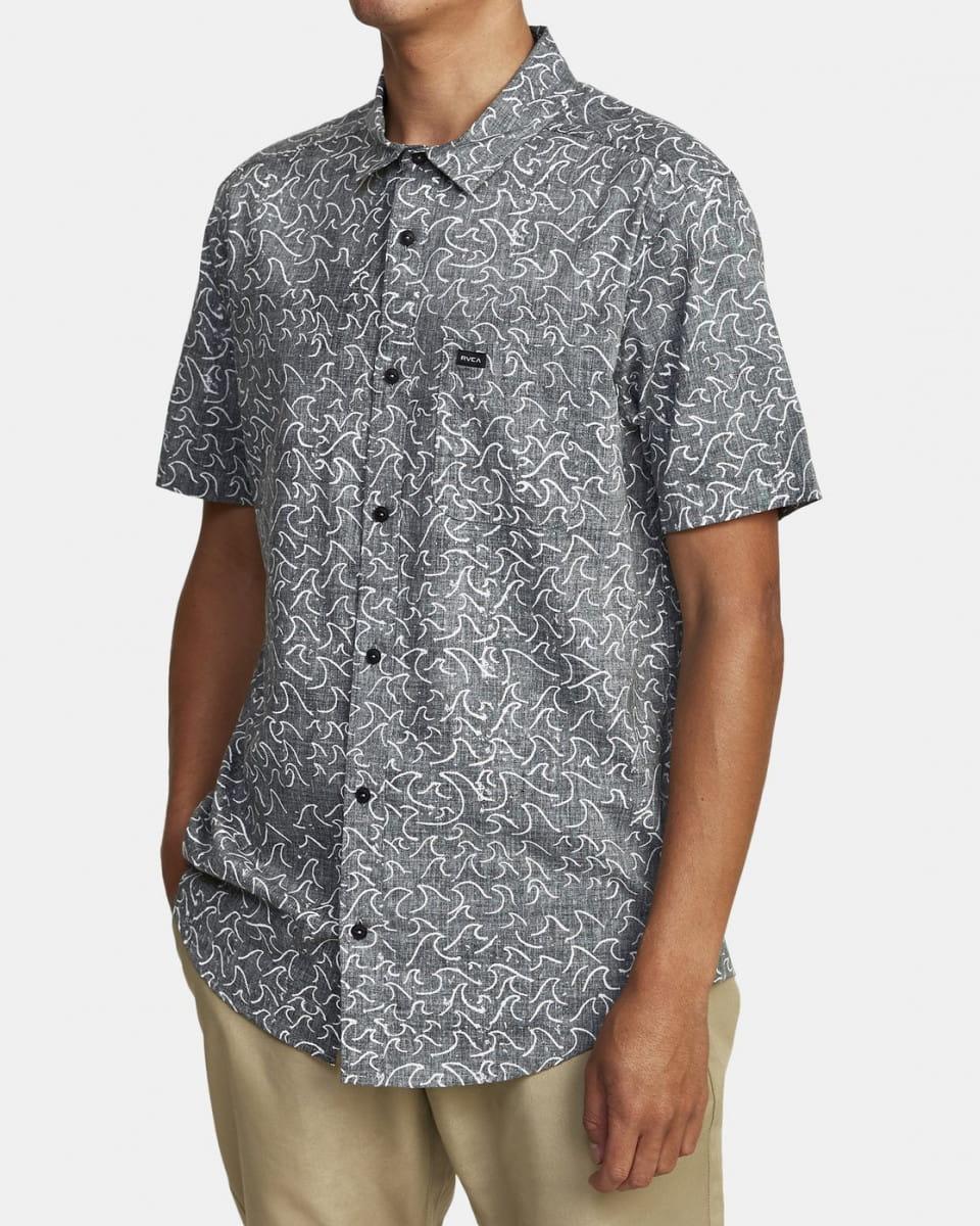 Муж./Одежда/Рубашки/Рубашки с коротким рукавом Мужская рубашка с короткими рукавами Oblow Waves