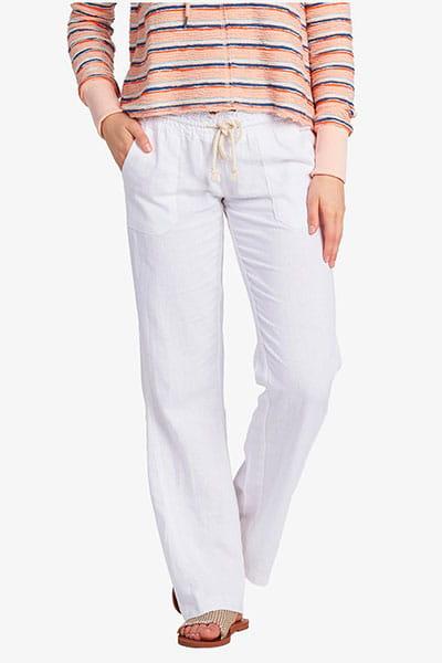 Белый женские пляжные брюки с широкими штанинами roxy oceanside