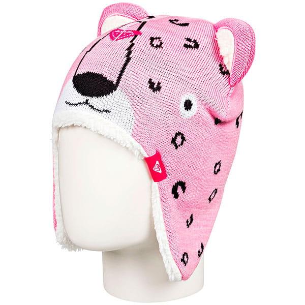 Розовые детская шапка с ушами leopard