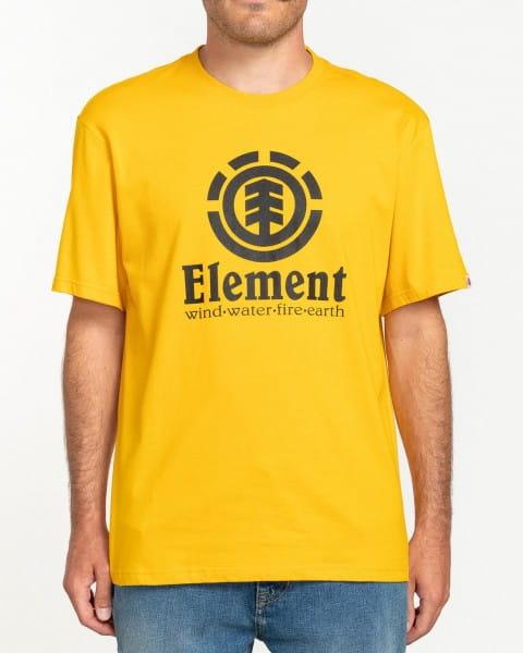 Желтый мужская футболка с коротким рукавом vertical