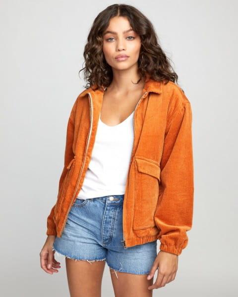 Оранжевый вельветовая женская куртка viber corduroy