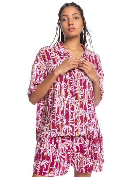 Бордовый женская рубашка с коротким рукавом sunny ride