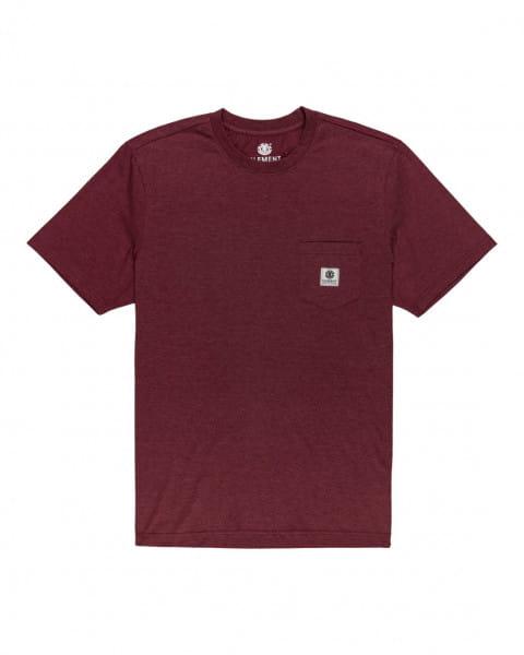 Бордовый мужская футболка с короткими рукавами basic pocket label