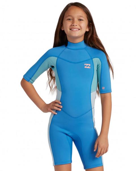 Синий детский гидрокостюм с короткими рукавами и молнией на спине syne
