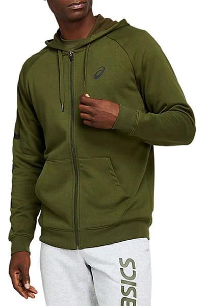 Зеленый толстовка big asics fz hoodie