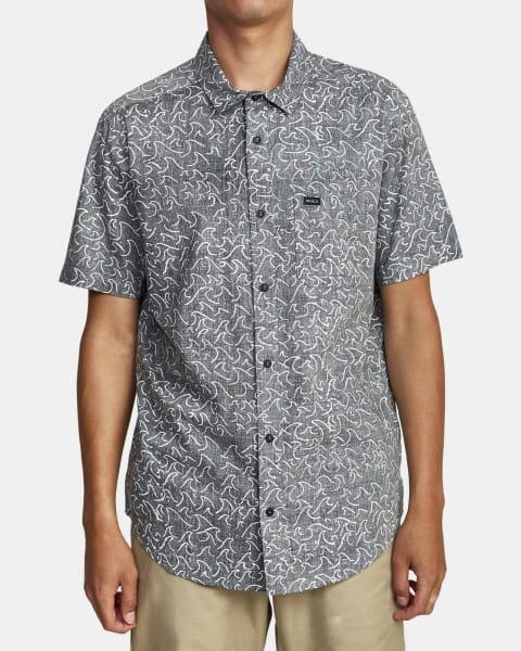 Черный мужская рубашка с короткими рукавами oblow waves