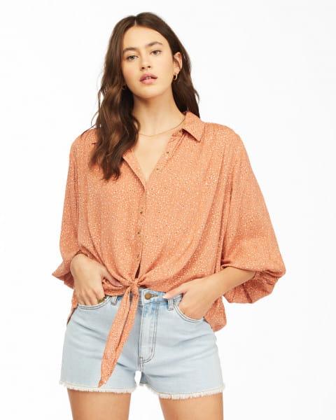 Коралловый женская рубашка easy beat