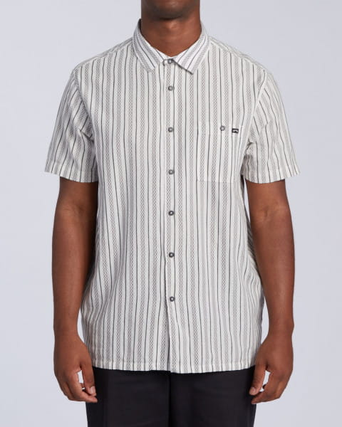 Белый мужская рубашка с коротким рукавом sundays jacquard