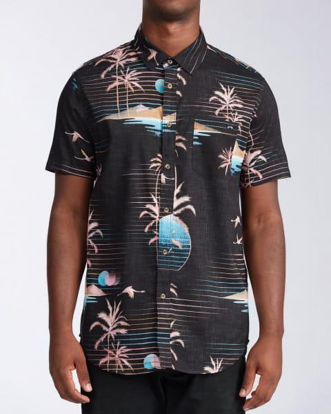 Черный мужская рубашка с коротким рукавом sundays floral