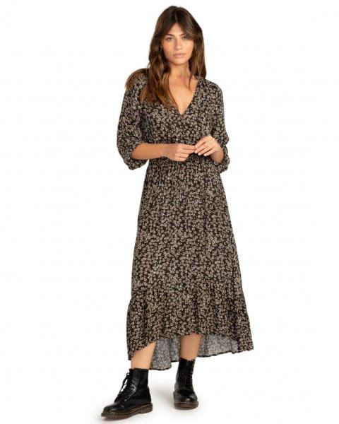 Черный женское макси платье good vibrations