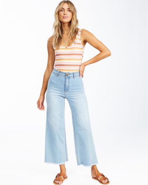 Голубой женские джинсы с высокой талией free fall indigo