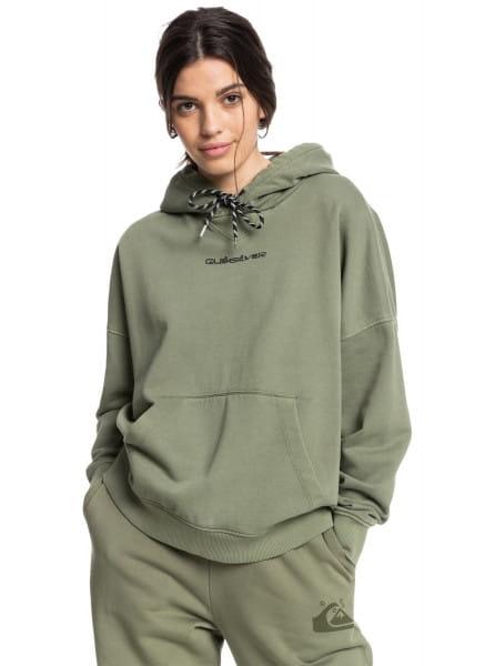 Зеленое оверсайз худи из органического хлопка quiksilver womens