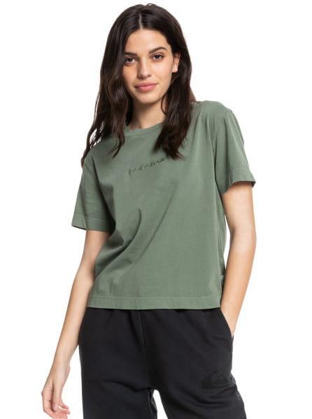 Бирюзовый футболка из органического хлопка quiksilver womens