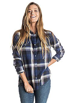 Рубашка в клетку женская Roxy Campay J Wvtp Moon Plaid Combo Blue