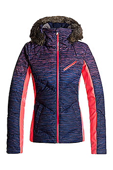 Куртка утепленная женская Roxy Snowstorm Print Neon Grapefruit Spac