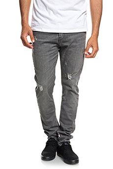 Джинсы узкие QUIKSILVER Lobrigrdama Grey Damaged1