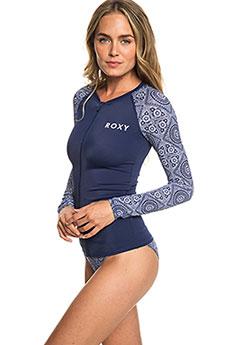 Гидрофутболка женская Roxy Ls Zip Fa Ly Med Blue Shibori Nig