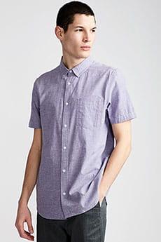 Фиолетовый мужская рубашка с коротким рукавом