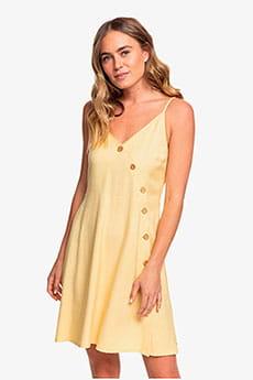 Желтый женское платье на пуговицах sun may shine
